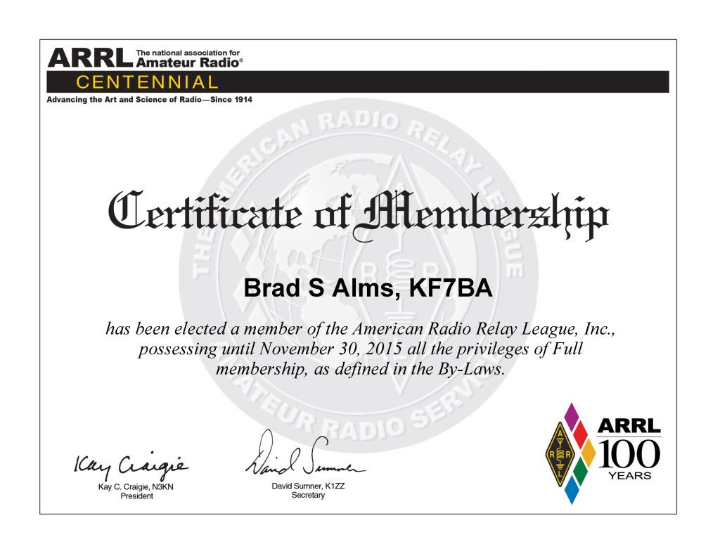 Brad_S_Alms,_KF7BA_Membership_Cert