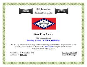 KF7BA State Flag Award AR