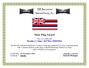 KF7BA State Flag Award HI