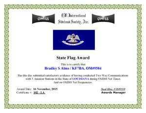 KF7BA State Flag Award LA