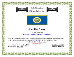 KF7BA State Flag Award MN