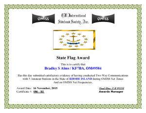 KF7BA State Flag Award RI