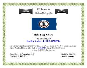 KF7BA State Flag Award VA