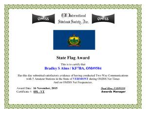 KF7BA State Flag Award VT