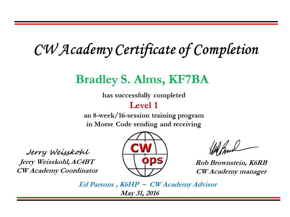 CW Academy certificate ver2_KF7BA_Level 1