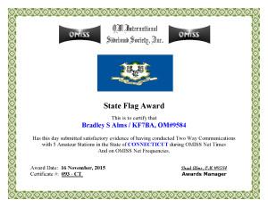 KF7BA State Flag Award CT