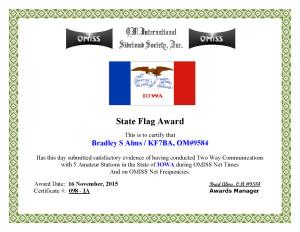 KF7BA State Flag Award IA