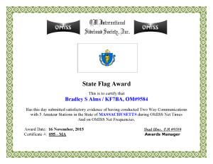 KF7BA State Flag Award MA