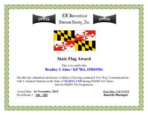 KF7BA State Flag Award MD