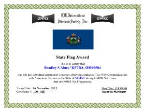 KF7BA State Flag Award ME