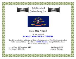 KF7BA State Flag Award ND