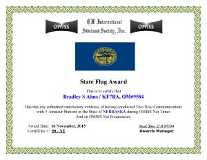 KF7BA State Flag Award NE