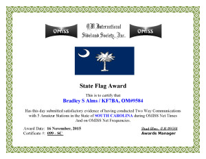 KF7BA State Flag Award SC