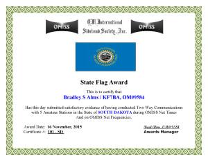 KF7BA State Flag Award SD