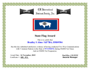 KF7BA State Flag Award WY