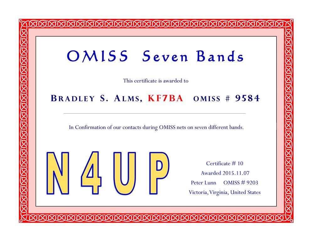 N4UP OMISS Seven Bands KF7BA