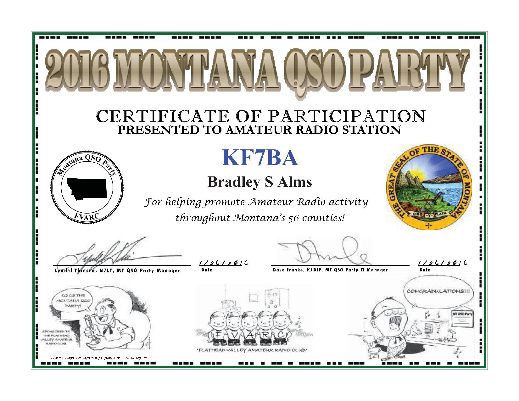 MT QSO 2016 Participation Certificate